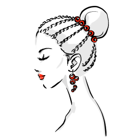 image of a sketch of a woman with a stylish hair bun.